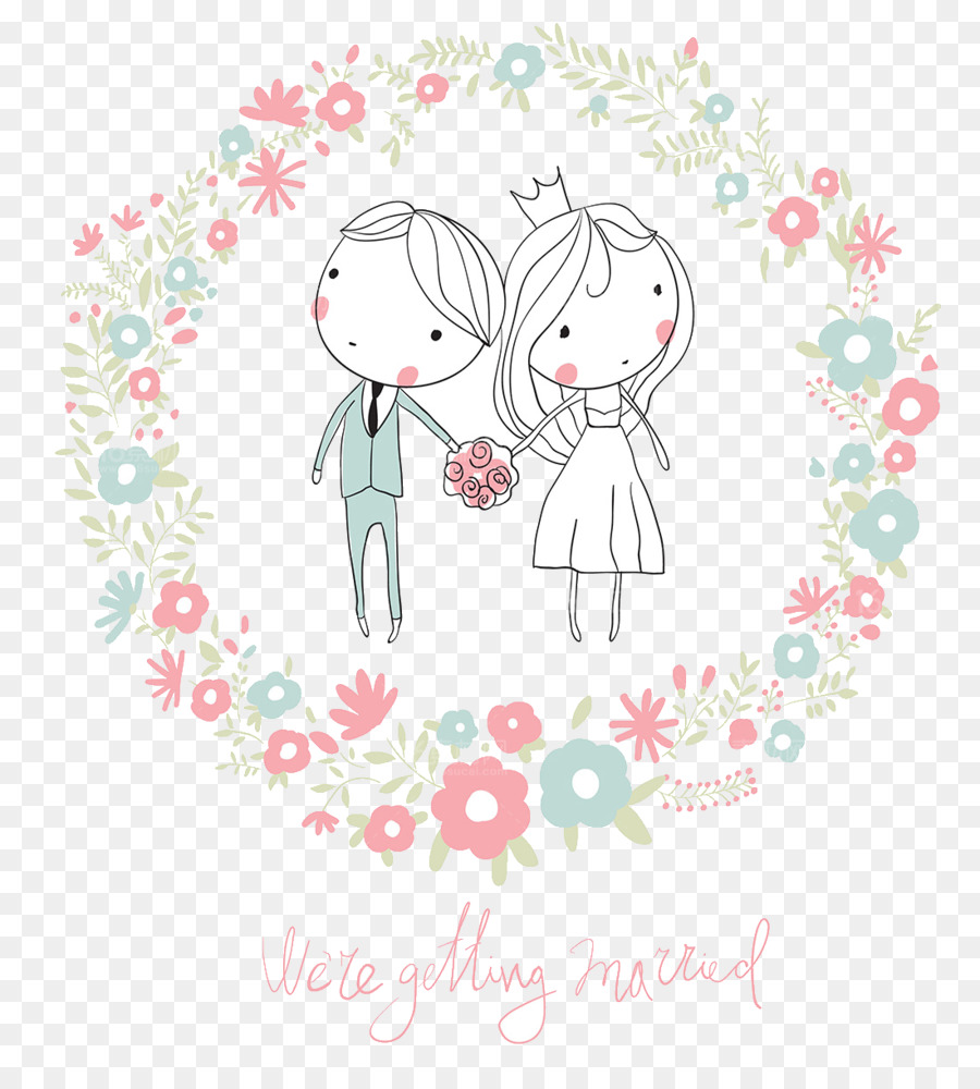 Wedding invitation Clip art - Cute cartoon character design wedding ...