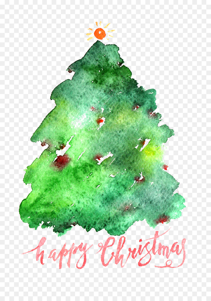 santa claus christmas tree watercolor painting simple christmas ad