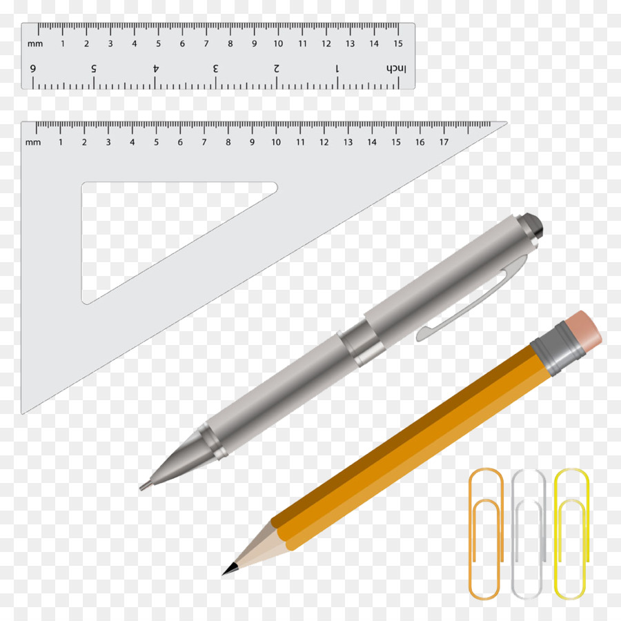 Pencil eraser illustration ruler and pen picture paper clips