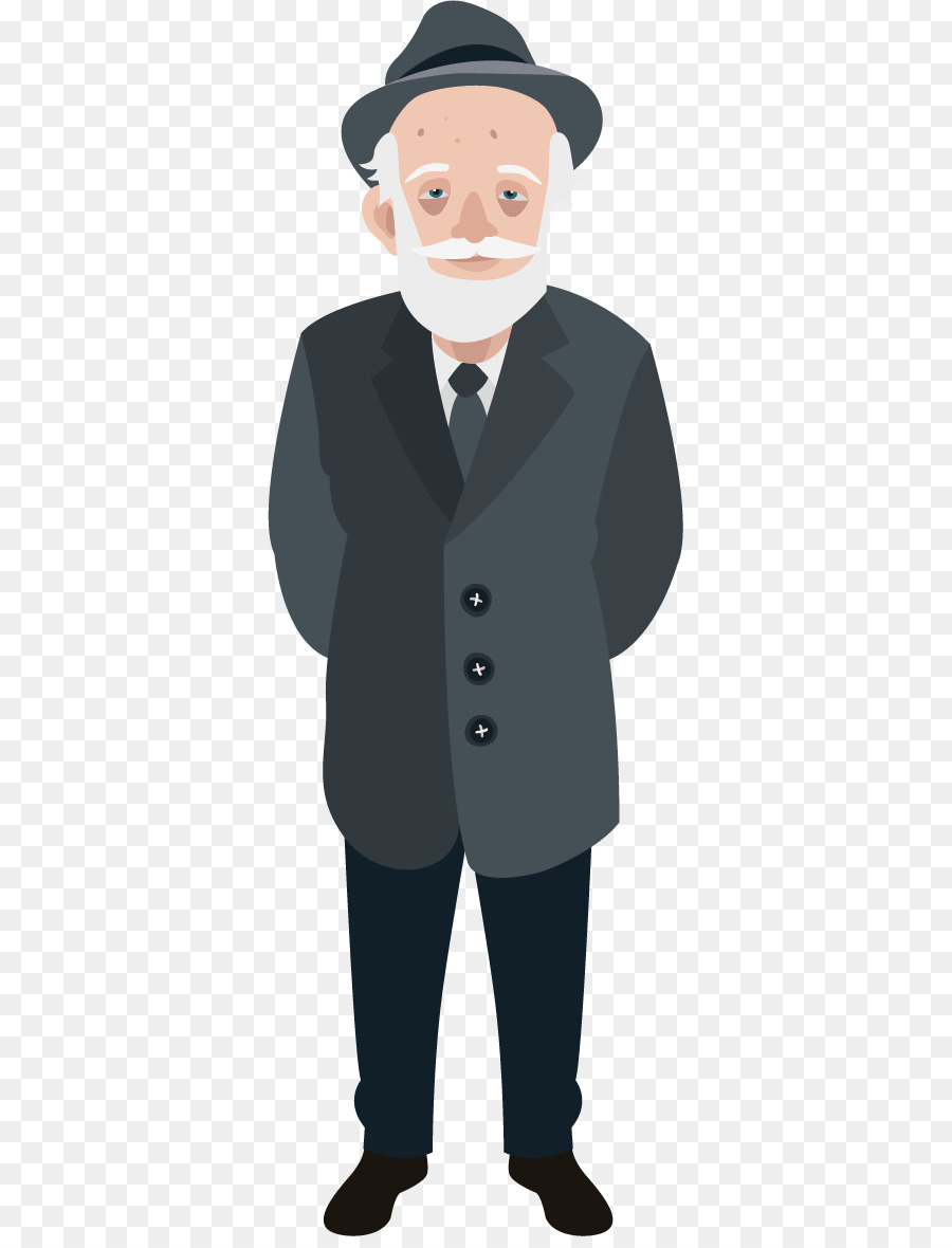 Old Age Illustration - Old Man Winter Clothing Vector -3078