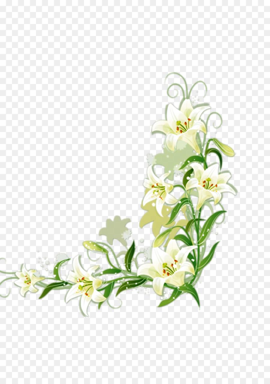 White Flower Border White Lily Png Download 2480 3508