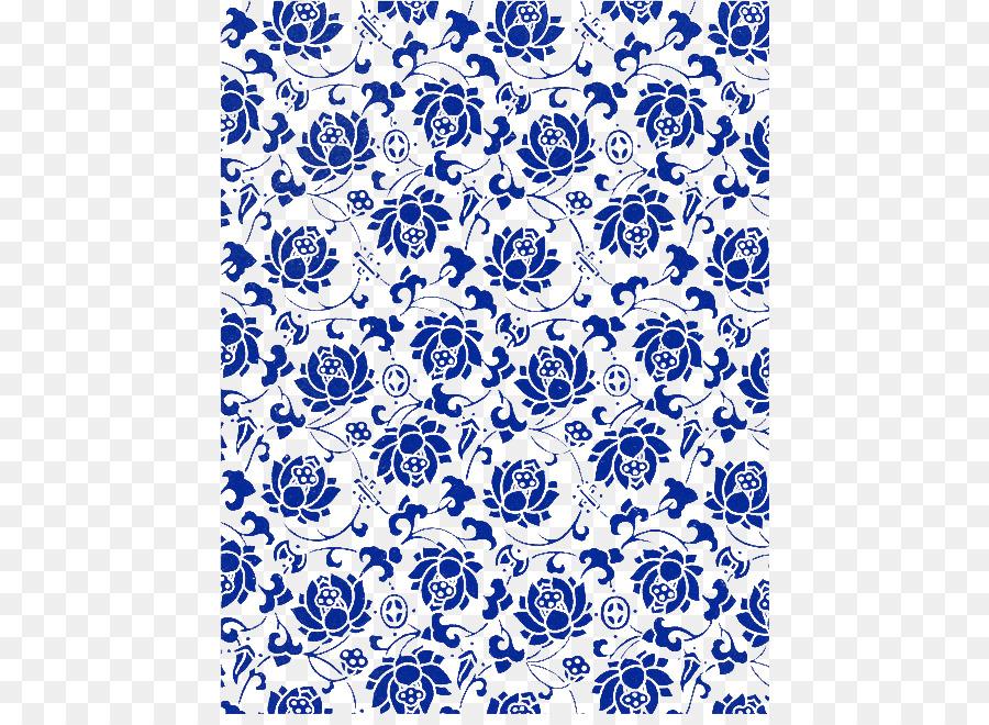 Paper Blue Textile Flora Pattern
