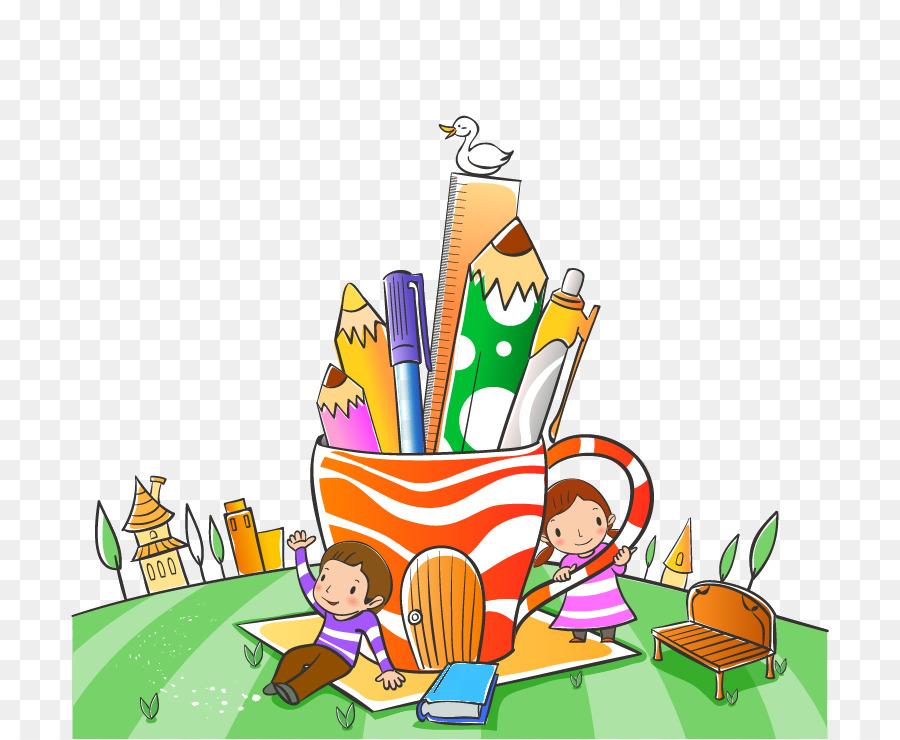 Niño De La Escuela De Dibujos Animados Ilustración