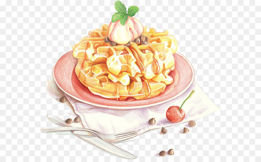 Pancake Waffle Food Watercolor Painting Cake Png