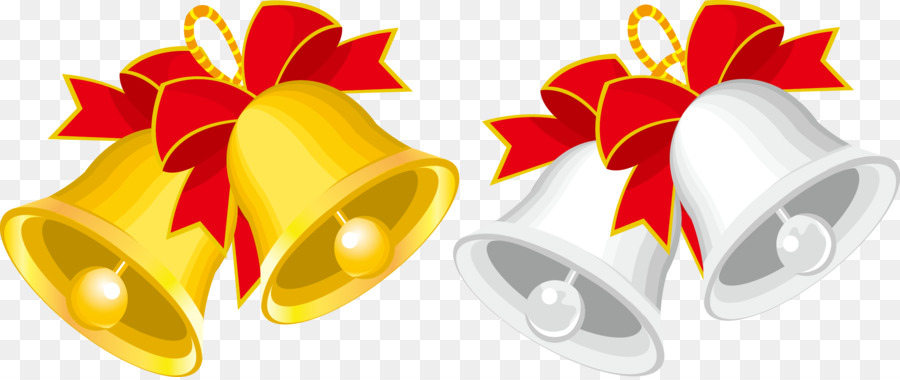 Christmas Jingle bell Cartoon Clip art - Gold and silver bells vector material png download - 2352*985 - Free Transparent Christmas png Download.