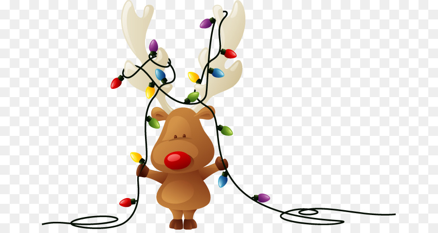 rudolph reindeer santa claus christmas card christmas lights best clipart png