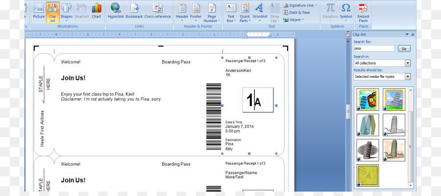 Wedding invitation Flight Boarding pass Airline ticket Template ...