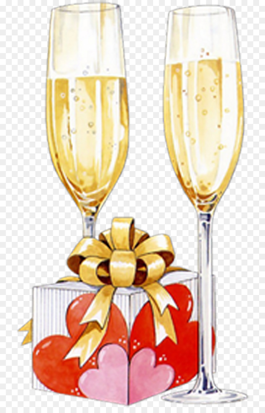 Birthday Cake Toast Champagne Stemware Cocktail PNG