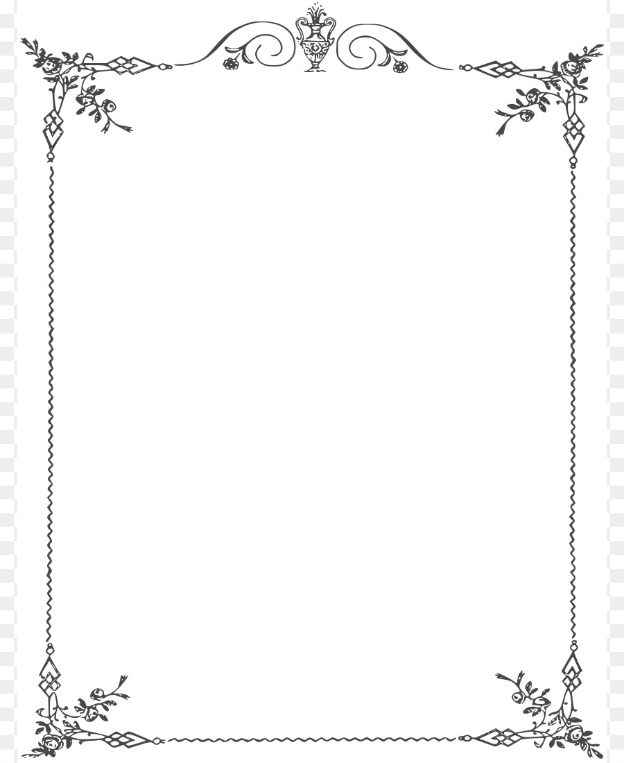 Borders and Frames Black and white Clip art - Elegant Page Borders ...