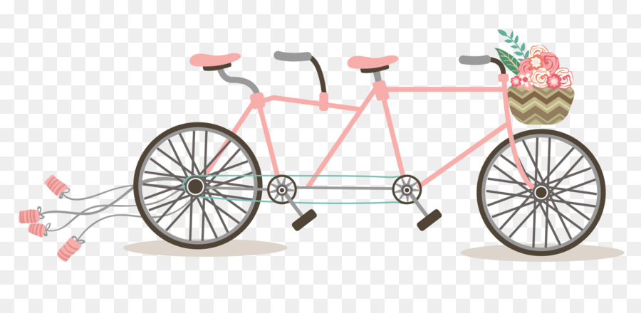 Wedding Invitation Tandem Bicycle Clip Art