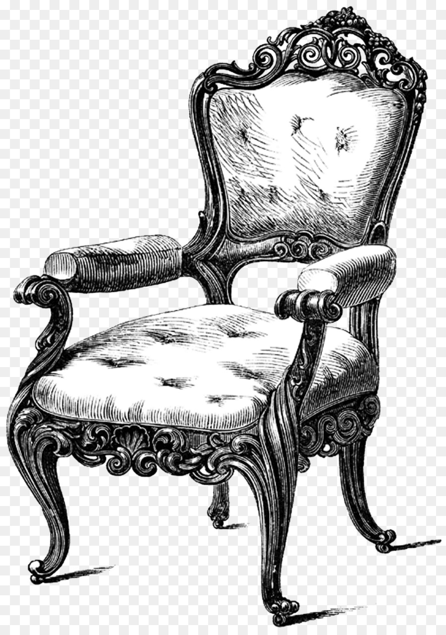 Table Chair Antique furniture Drawing Couch - armchair - Table Chair Antique Furniture Drawing Couch - Armchair Png Download