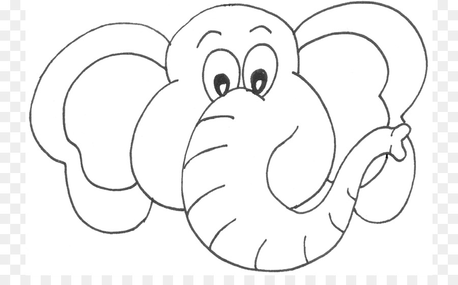 Elephant Coloring book Face Drawing Clip art - Outline Of Elephant ...