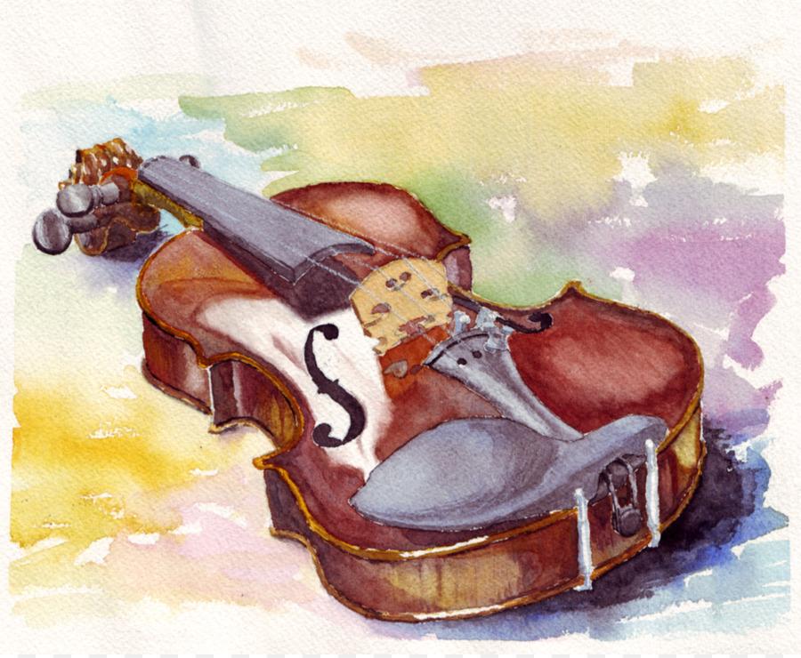 Violin Watercolor Painting Cello