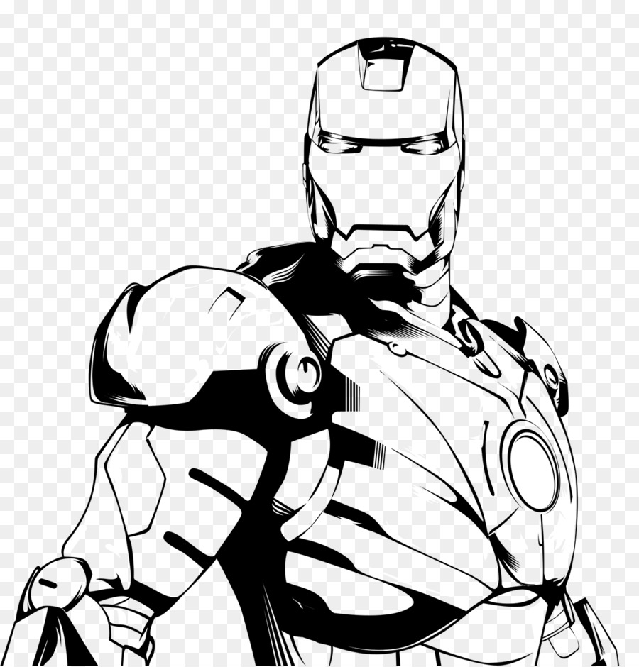 iron man black and white drawing line art clip art