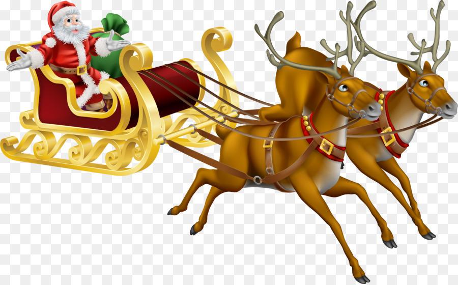 Rudolph, Santa Claus, Rentiere, Weihnachten - Santa Schlitten png ...
