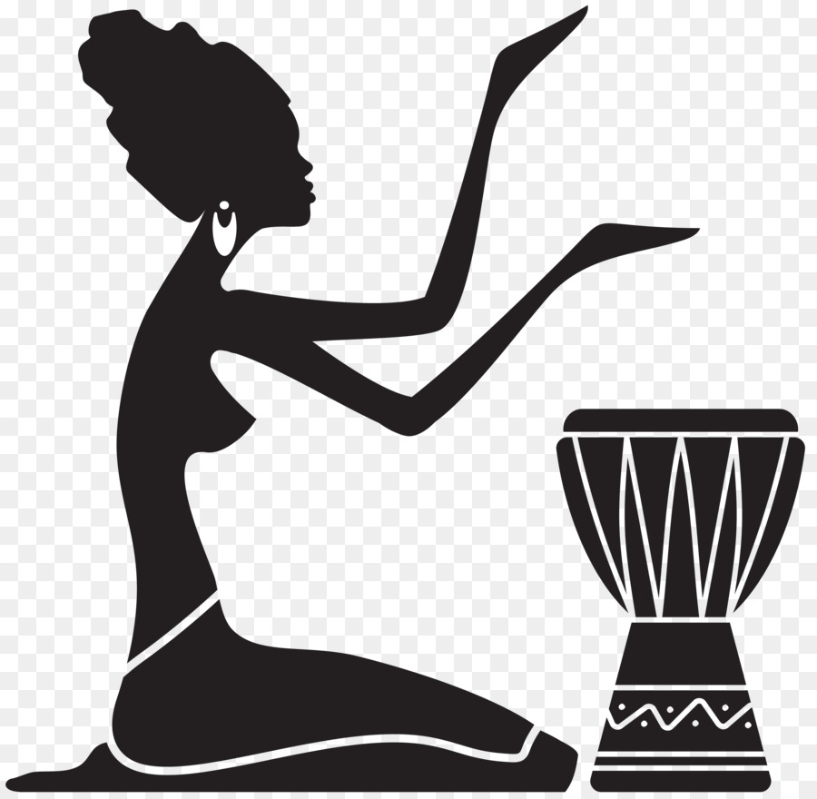 Silhouette woman painting clip art africa
