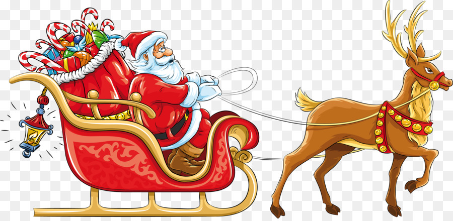 Rudolph Santa Claus Rentier Schlitten Clipart Weihnachtsmann Png