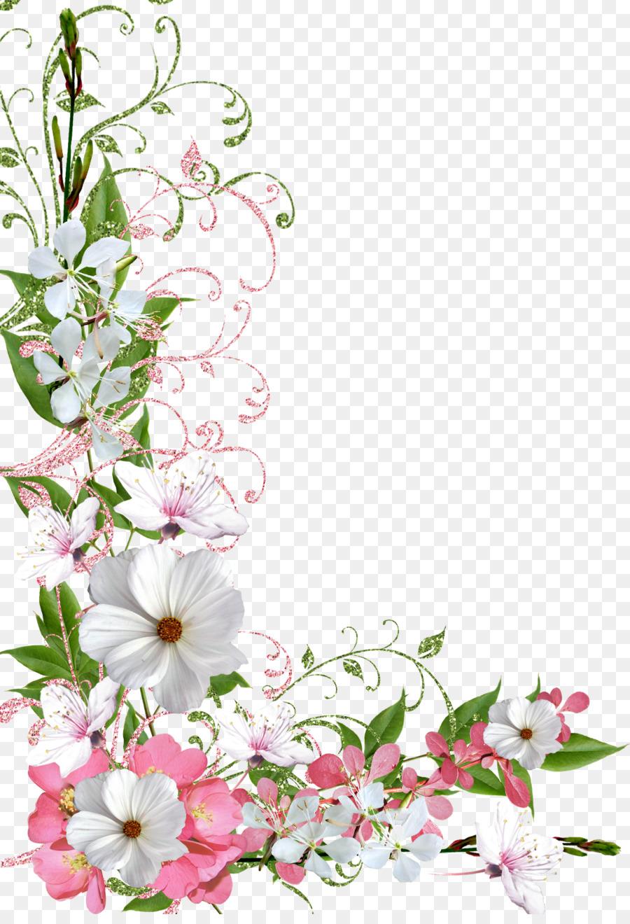Border Flowers Clip Art Spring Png Download 1140 1654