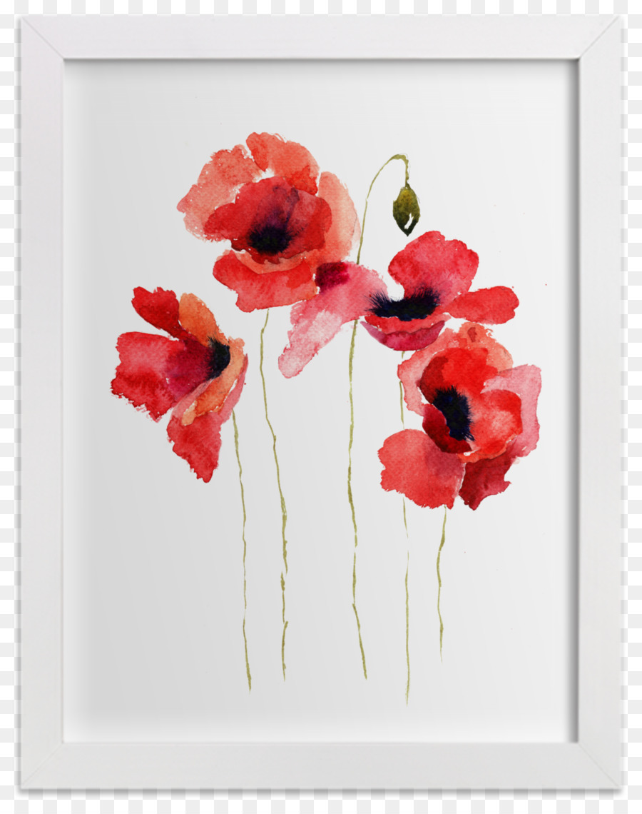 Common Poppy Watercolor Painting Flower Watercolor Animals Png