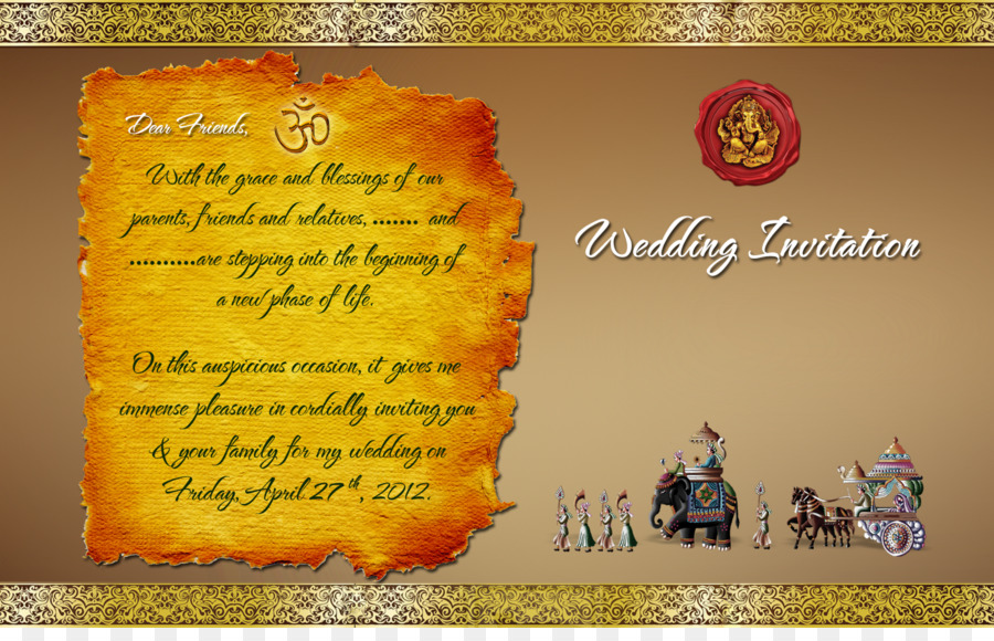 Wedding invitation Hindu wedding Template Hinduism - invitation png ...