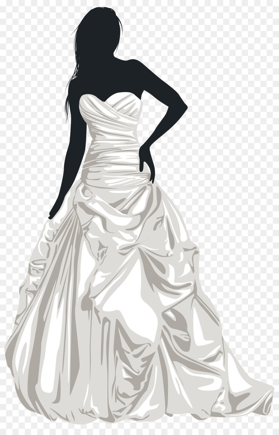 Bride Silhouette Wedding dress Clip art - wedding dress png download ...