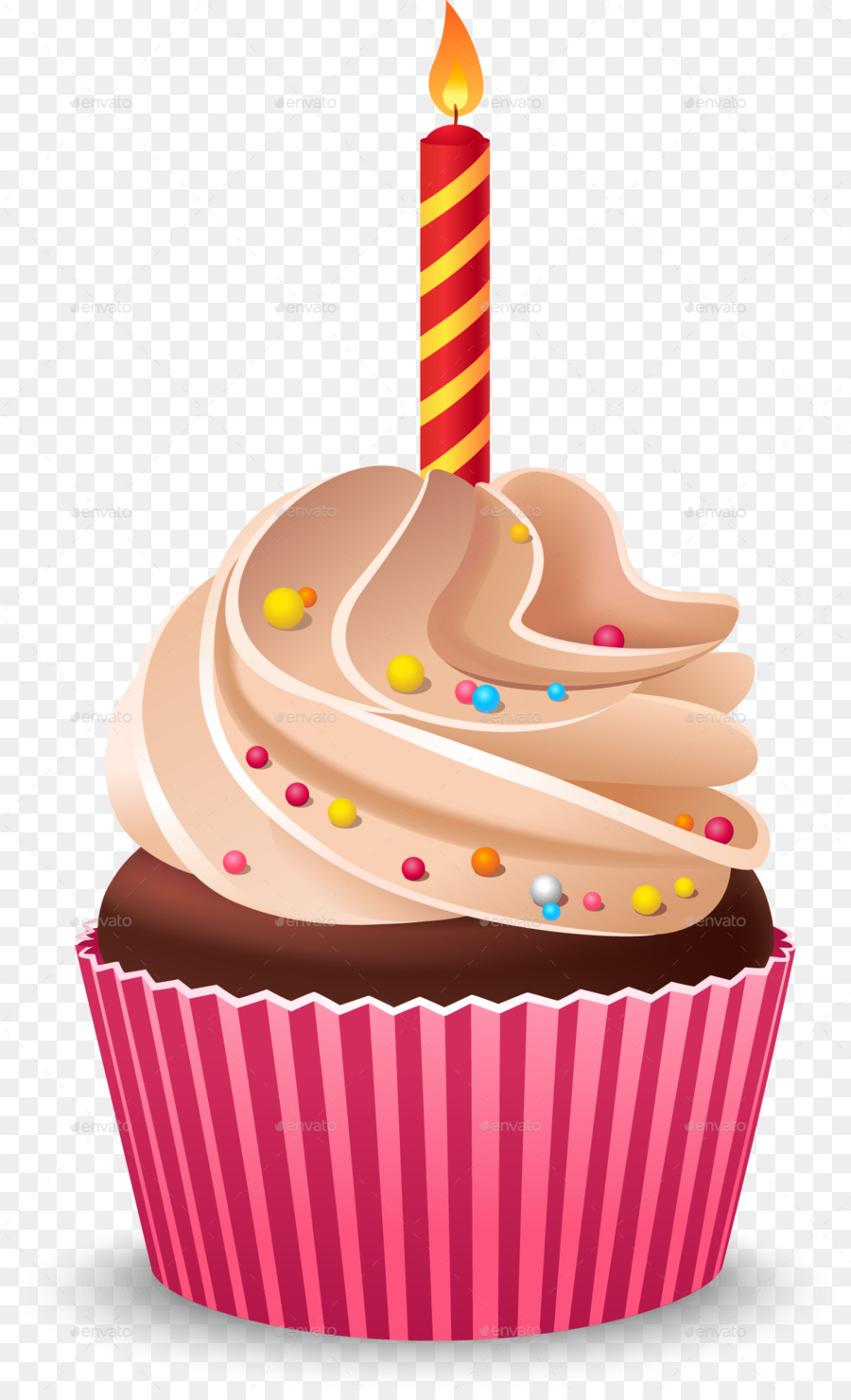 Cupcake Birthday Cake Cream Dairy Product Confectionery PNG