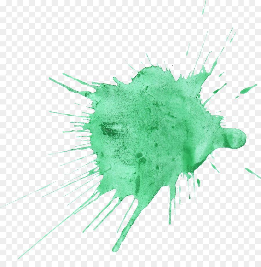 Watercolor painting green color splash