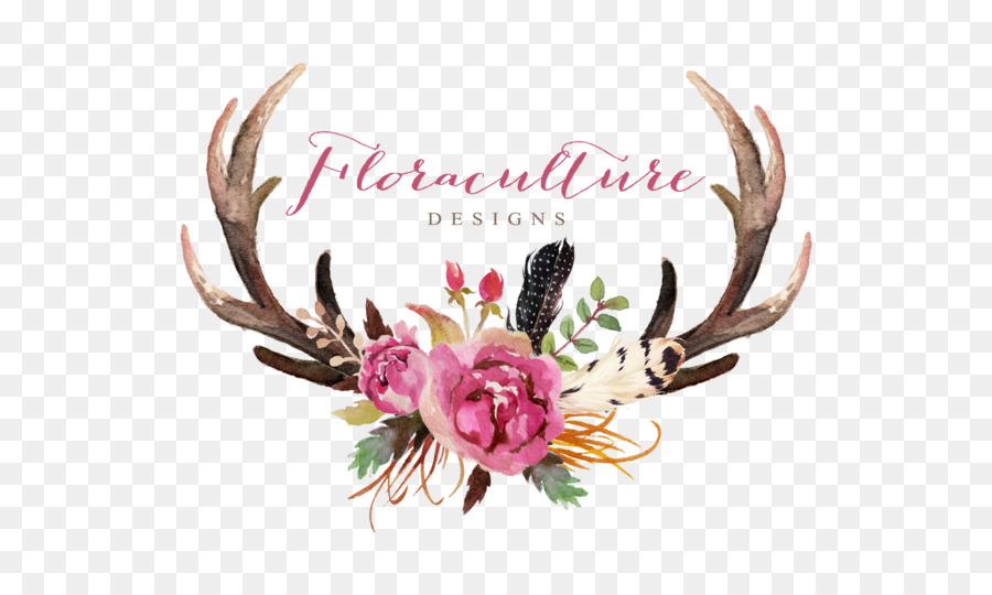 Deer antler flower skull clip art watercolor leaves png download deer antler flower skull clip art watercolor leaves mightylinksfo