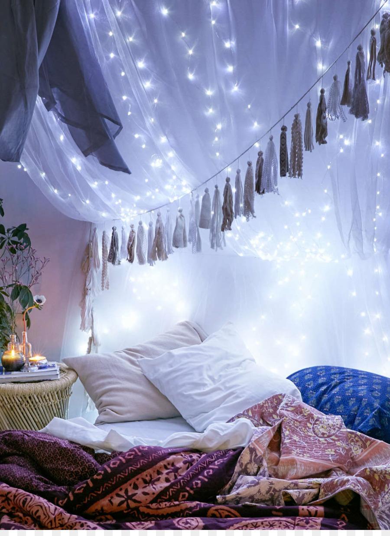 Lighting Bedside Tables Bedroom Christmas Lights   String Lights