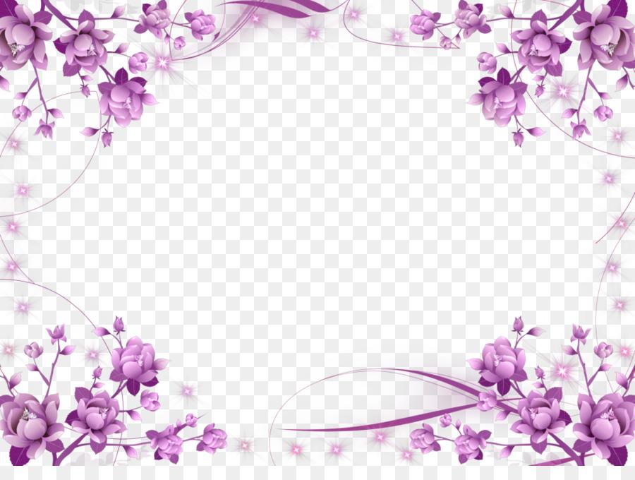 Bordes y Marcos Marcos de fotos de Flores de color Púrpura Clip art ...
