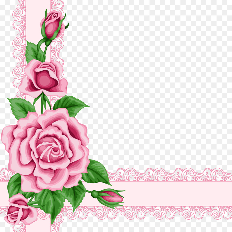 Flower Rose Clip Art Pink Flower Border Png Download 55005500