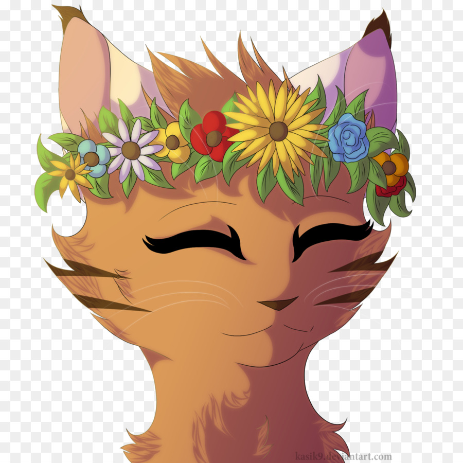 Cat Flower Drawing Art Crown Flower Crown Png Download 12801280