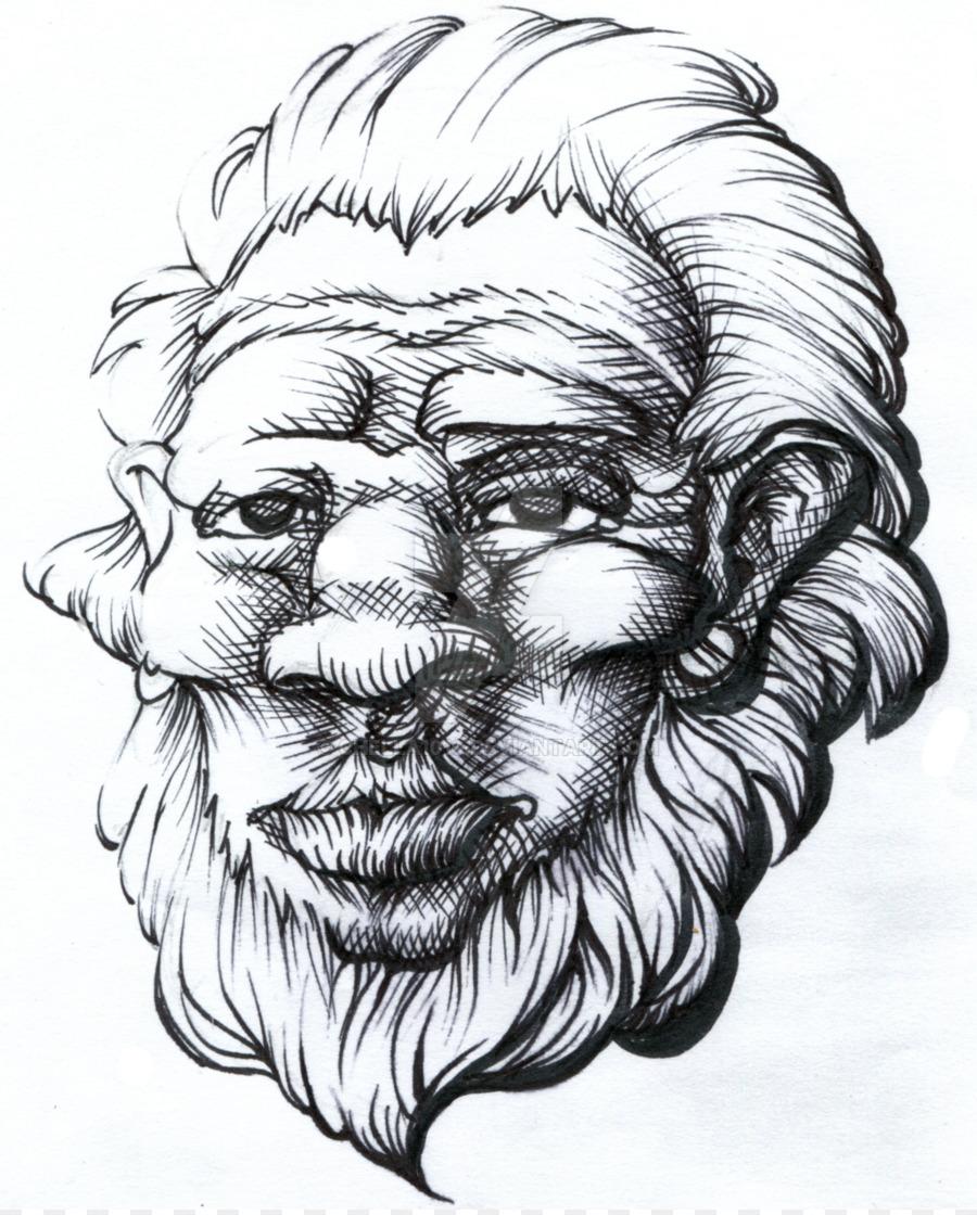 En blanco y negro vello Facial de Arte de Dibujo de Retrato - Hombre ...