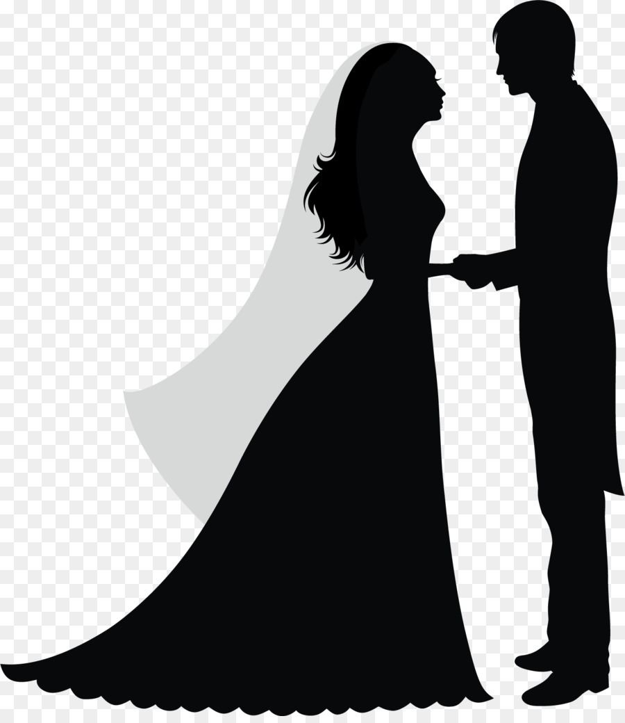 Wedding sticker bride standing romance png