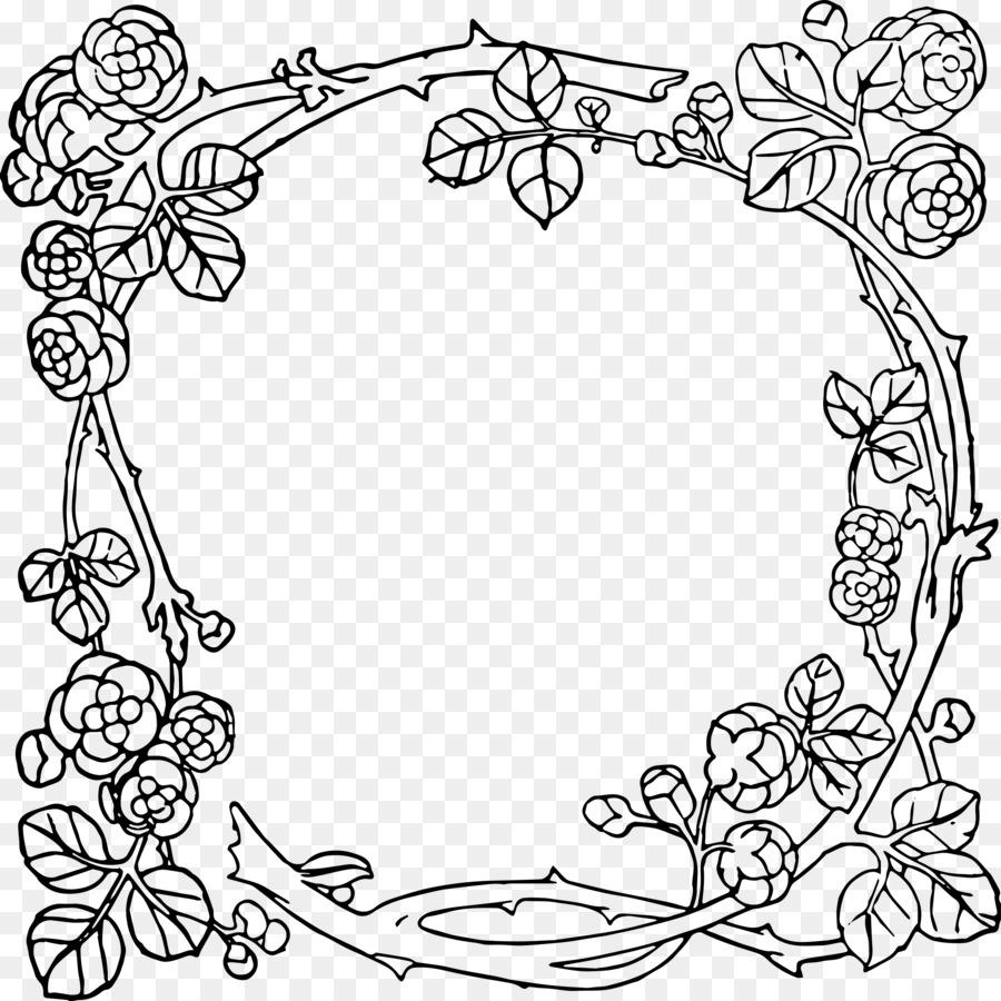 Art Nouveau Art Deco Picture Frames Clip art - rose border frame png ...