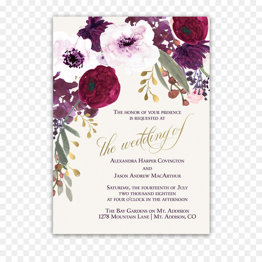 Wedding invitation Paper Flower Burgundy - wedding invitation png ...