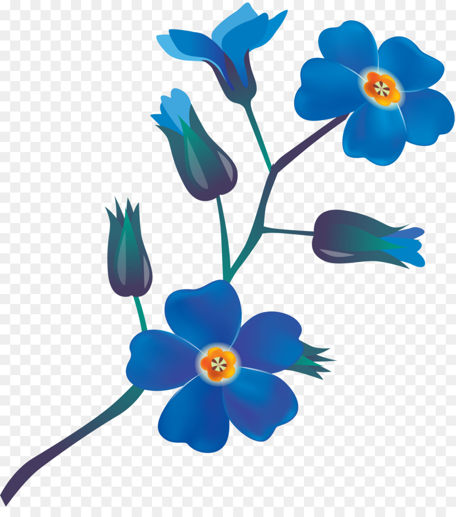 Cut Flowers Plant Stem Clip Art Blue Flowers Png Download 1619
