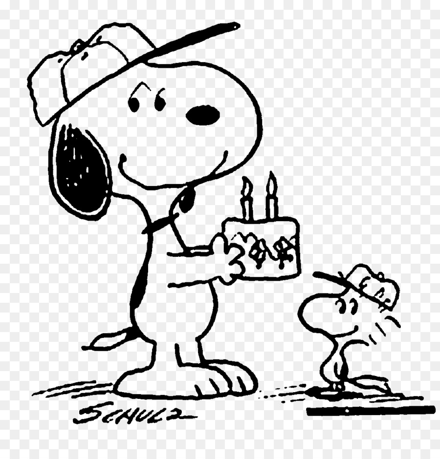 Snoopy Woodstock Black And White Birthday Drawing Snoopy