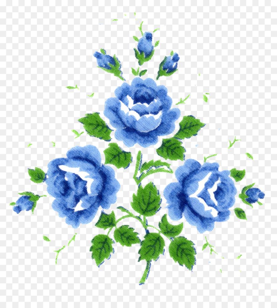 Cut Flowers Blue Scorpion Grasses Floral Design Watercolor White