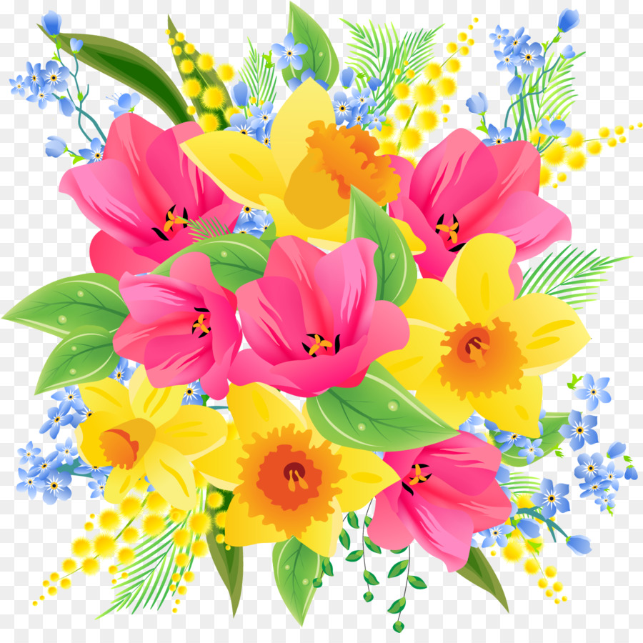 Flower Bouquet Clip Art Spring Flowers Png Download 1350 1329