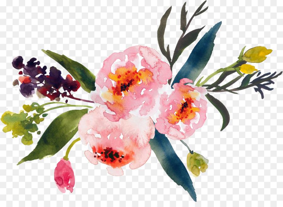 Flower bouquet Watercolor painting Clip art - watercolor flower png ...