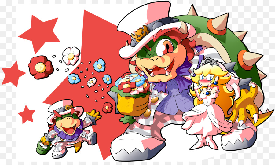 super mario odyssey bowser princess peach drawing just married png