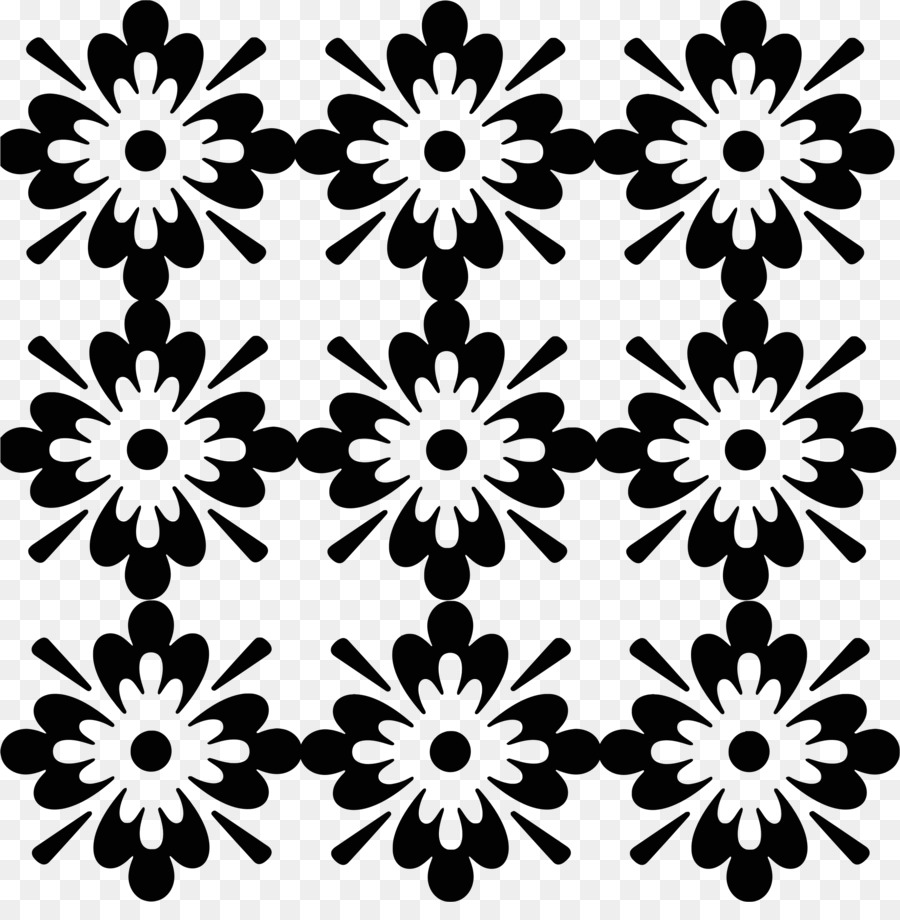 Black And White Ornament Clip Art Flower Pattern Png Download