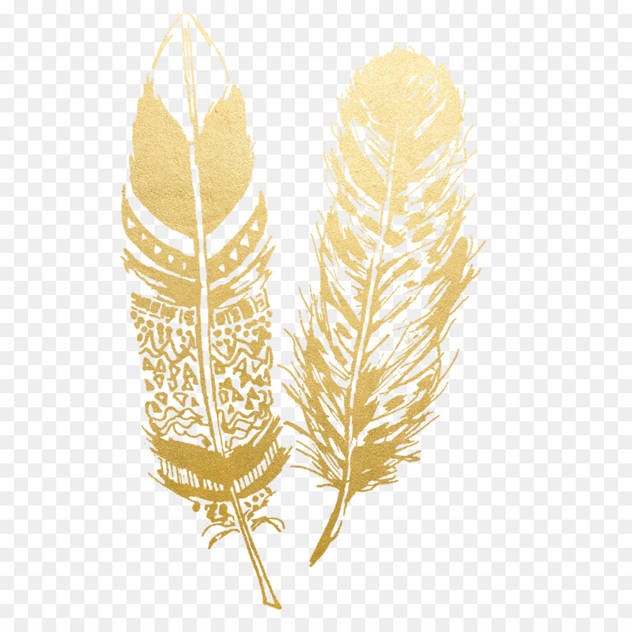 Feather Tattoo Wall decal - gold flower png download - 1000*1000 ...