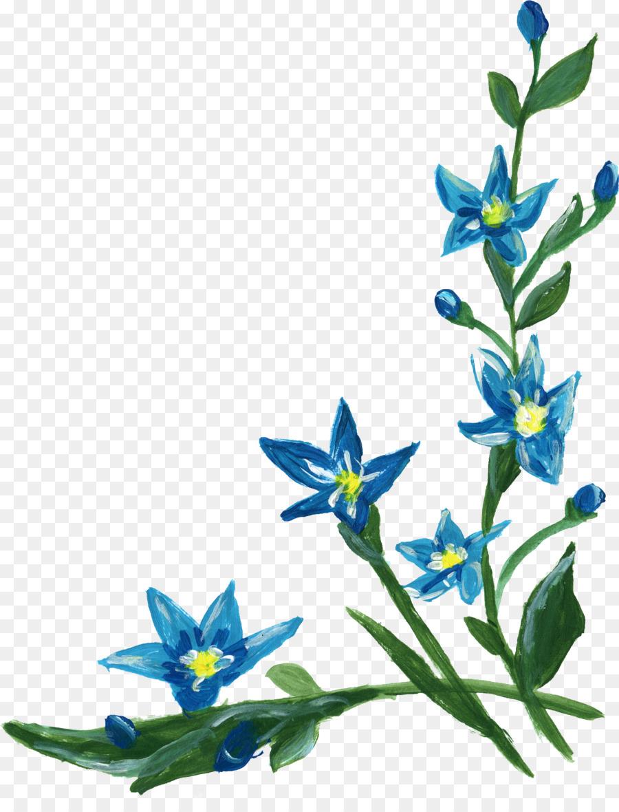 Flower Clip Art Blue Flower Border Png Download 17172214 Free