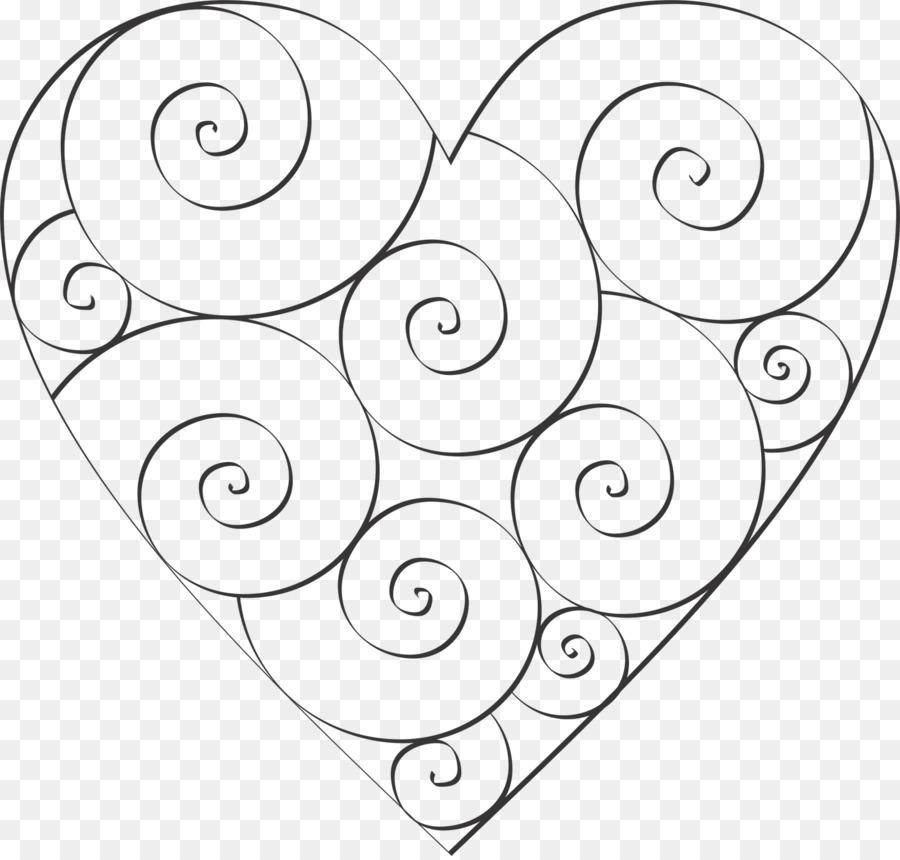 Corazón de la Plantilla de libro para Colorear Patrón de Espiral ...