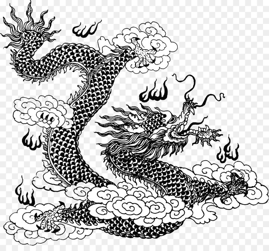 Dragón chino de la Línea de arte Mitología Clip art - dragón barbudo ...