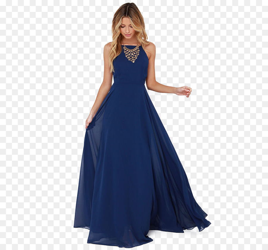 Dress Navy blue Neckline Bodice Evening gown - model png download ...