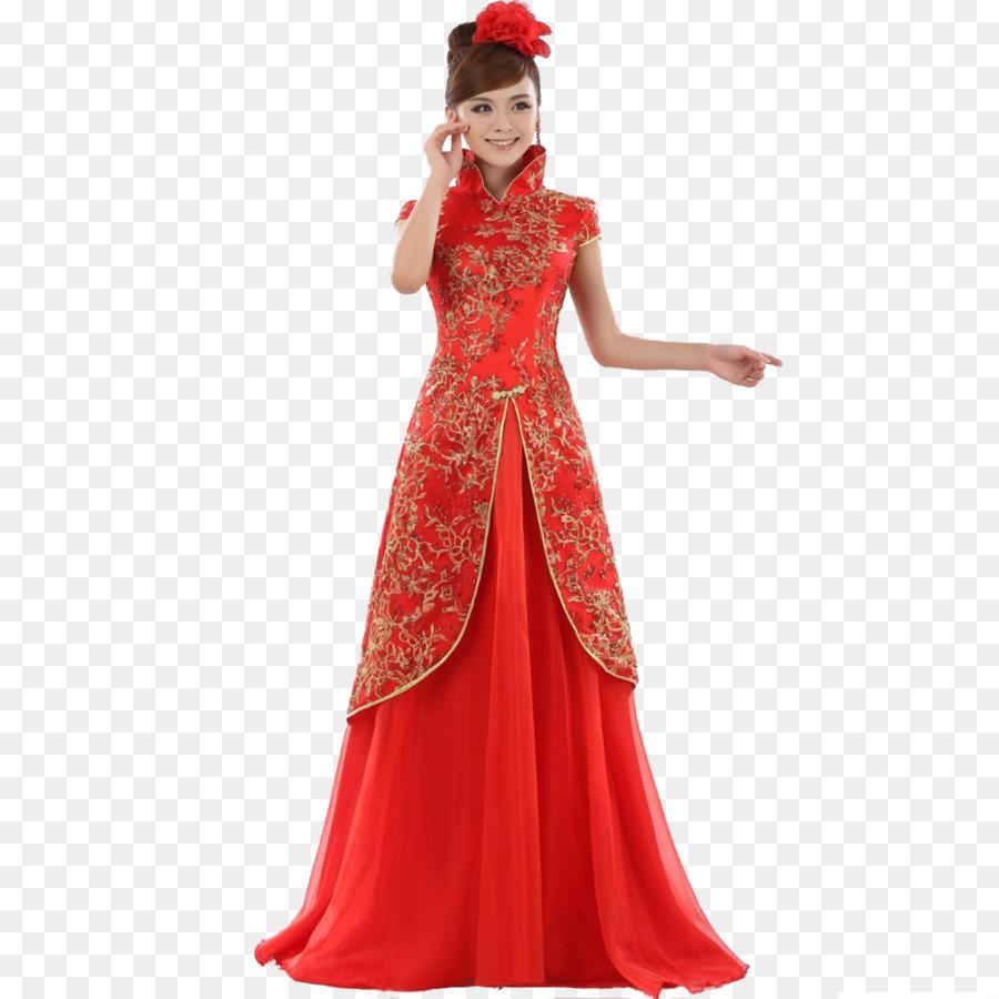 Wedding dress Chinese marriage Bride Cheongsam - chinese wedding png ...