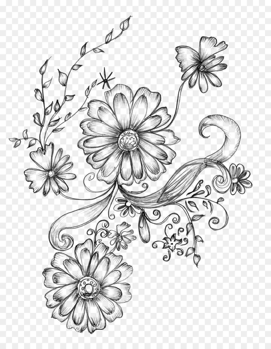 Drawing Decorative Arts Flower Sketch Decorative Png Download